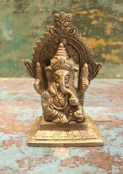 Small Brass Ganesha with Aura